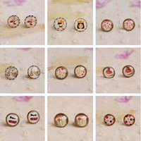12pairs / lot Mixed Vintage Jewelry Verre Cabochon Stud Earrings Post Earrings Stud pour fille Cherry Dots Flowers 12mm rd0002