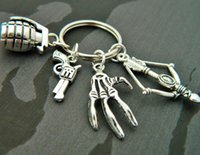 Wholesale Zombie Key Chain - 12pcs Zombie Killer Keyring Walking Dead style Zombie Survival Kit charm Key Chain charm in silver