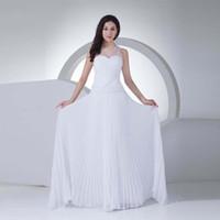 Wholesale beach wedding dresses transparent resale online - 2017 New Style A Line Chiffon Royal Bridal Wedding Dress Transparent Neckline Dress Bride White Competitive Price