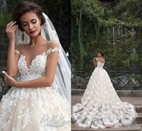 Wholesale amazing beaded wedding dresses online - Amazing Wedding Dresses Sheer Crew Neck Beaded D Flowers Applique Short Sleeves Button Back Court Train Full Lace Bridal Gowns