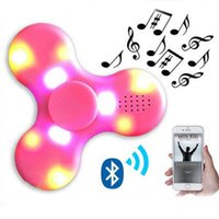 Wholesale Wholesale Led Mini Light Sets - New LED Light MINI Bluetooth Hand Fidget Spinner Music Speaker Perfect For ADD,ADHD,Autism and Pressure Relief Finger Toy