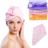 Wholesale Caps Dry Hair - Wholesale- Microfiber Solid Hair Turban Quickly Dry Hair Hat Womens Girl Cap Bathing Tool Drying Towel Head Wrap Hat gorro ducha mujer