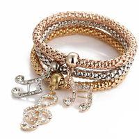 Wholesale Chain Sets For Women - 2016 Top Fashion Link Chain Women's Hot Sale 3pcs set Cute Love Charm Bracelet Multilayer Chain Crystal Bracelets for Women Snap Jewelry