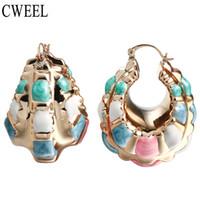 Wholesale Beads For Hoop Earrings - CWEEL New Fashion Indian Earrings Big Size Jewelry For Women Wholesale Gold Color Nigerian Wedding African Beads Hoop Earrings