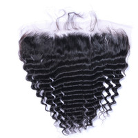 Wholesale shipping hair virgin resale online - Brazilian Deep wave x4 Lace Frontal Closures Free Part Unprocessed Virgin Human with Baby hair Free ship