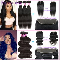 "Wholesale Cambodian Hair Mixed - Brazilian Straight, Body Wave Extension 3 Bundles with Lace Closure 4""x4"" or 13""x4"" Frontal Peruvian Cambodian Indian Virgin Human Hair Weft"