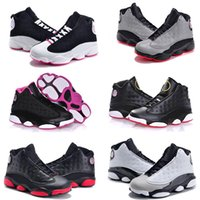 Wholesale Cheap Girls High Top Sneakers - 28-35 kids sneakers air retro 13 basketball shoes 2017 for boys girls black red white black pink cheap XIII sale high top quality US 11C-3Y