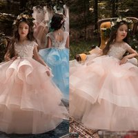 Wholesale Girls Puffy Tulle Skirt - Cute Blush Pink Flower Girls Dresses For Weddings Long Puffy Skirts Beads Appliqued Pageant Communion Dress Cheap Kids Birthday Ball Gowns
