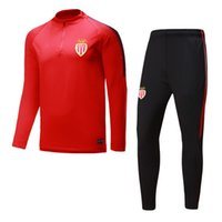 Wholesale Sweater Pant Sets - Top quality 2017 2018 Monaco Soccer training suit sweatshirt and pants survetement 17 18 Monaco Sweater Tracksuit Set Soccer Training Suit