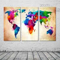 Wholesale 3 Panel Colorful World Map Paintings Oil Painting Print On Canvas Home Decor Wall Art Picture for Living Room