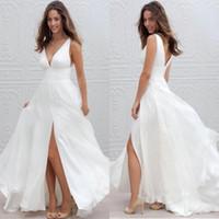 Wholesale Sexy Champagne Gold Dresses - 2017 New Summer Beach Boho Wedding Dresses A Line Sexy V Neck Split Long Chiffon Bridal Gowns Bohemian