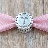 ingrosso fede dei gioielli-Autentico 925 Sterling Silver Beads Faith Cross Charms Adatto europeo Pandora gioielli stile collana bracciali IT792016CZ