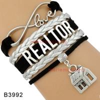 Wholesale Real Estate Wholesalers - Drop Shipping Infinity Love Realtor Bracelet for Real Estate Broker House Charm Multilayer Black Silver Leather Bracelet Customizable