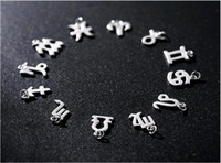 Wholesale 12 Zodiac Signs Pendant - 12 Zodiac Signs Charms Pendants for DIY Bracelet Necklace Tail Chain 925 Sterling Silver Jewelry Components Findings free Shipping
