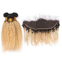 Wholesale curly virgin hair bundles tone for sale - Group buy 2 Tone b Blonde Hair Ombre Bundles With Lace Frontal Afro Kinky Curly With x4 Lace Frontal Closure Virgin Peruvin Human Hair