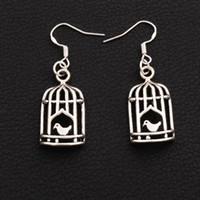 pájaros jaulas de pájaros al por mayor-Bird In Half Birdcage Pendientes 925 Silver Fish Ear Hook 30pairs / lot Antique Silver Dangle Chandelier E024 42.5x14mm