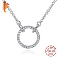 Wholesale Crystal Pave Link Necklace - BELAWANG 925 Sterling Silver Circle Necklace Round Eternity Necklaces Paved CZ Crystal Necklace with Link Chain for Women Girls Jewelry