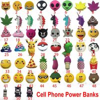 Wholesale Funny Phones - Emoji Power Mobile Cell Phone Power Banks 2200mah Funny Cute Unicorn Cartoon Power Bank For Mobile Phone Free Shipping DHL WX-B04