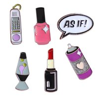 Wholesale Bag For Nail Polish - Wholesale- Free Shipping Cartoon Cute Sexy Lipstick Nail Polish Brooch Pins Badge Jeans Bag Clothes Decoration Jewelry For Women Gift