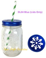 Wholesale Bamboo Candles Wholesale - Wholesale- 30pcs (Lids Only) Rustic Blue Daisy Cut Drinking Mason Jar Lids For Straws or Candle lights Decor Wedding Birthday Party Favors