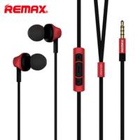 kulaklık kulak tıkaçları toptan satış-Remax RM-610D 3.5mm Fiş Kulaklık In-Line Kontrol Stereo Kulaklıklar Kulak Kulaklık Cep Telefonu için Mikrofon ile HiFi Kulaklık