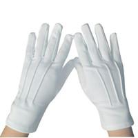 eldiven örneği toptan satış-20 adet = 10 Pair Etiquette Eldiven Elastik Eldiven Beyaz Resmi Eldiven Smokin Onur Güvenlik Parade Santa Muayene Guantes