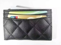 Wholesale Vip Card Holder - NEW With famous logo diamond card holder bag 4 card holder classic pattern black PU coat bag for card VIP gift