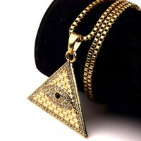 Wholesale Egyptian Pendant Eye Horus - Golden Egyptian Pyramid necklaces pendants Men Women Iced Out Crystal Illuminati Evil Eye Of Horus Chains Jewelry Gifts