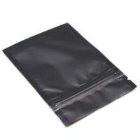 Wholesale zip lock black - 100Pcs Lot Black Matte Aluminum Foil Zip Lock Packing Bag Resealable Mylar Zipper Pack Pouch Self Seal Storage Package Bags