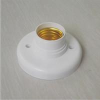 Wholesale E27 Screw Base - 1Pc 2017 New Arrival Useful E27 Round Plastic Base Screw Light Bulb Lamp Socket Holder White Free Shipping
