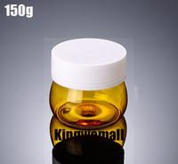 ingrosso vasi di plastica gialli-Trasporto libero - 300pcs / lot 150g (150ml) barattolo giallo crema di plastica, bottiglia in PET, contenitore cosmetico 3 oz, confezione cosmetica XJM02