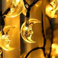 Wholesale Ramadan Home Decoration - Wholesale- Fairy energy saving solar power crescent shape 4.8m 20 led string light for Christmas party home ramadan decorations