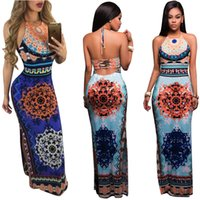 Wholesale Empire Waist Sheath Floor Length - Summer Dresses for Women The Waist Side Slit Hollow Printing Package Hip Maxi haltr Dress