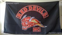 Wholesale devil motorcycle - Red Devils MC Flag 90 x 150 cm Polyester Holland Outlaw Motorcycle Club One Percenter Biker Banner