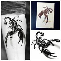 Wholesale Tattoo Sticker Scorpion - Wholesale-1PC Large 3D Black Metallic Scorpion King Temporay Tattoo Stickers Men Body Art GQS-B013 Scorpions Fake Flash Tattoo Arm Sleeve