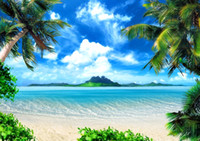 Wholesale wallpaper photography backgrounds - Summer Holiday Beach Themed Photo Booth Backdrop Blue Sky Island Palm Trees Seaside Scenic Wallpaper Studio Wedding Photography Background