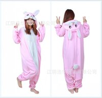 Wholesale Rabbit Onesie - Modest Pink Unisex Adult Home Rabbit Pajamas Kigurumi Cosplay Costume Onesie 2017 Cartoon Flannel Annimal Onesie Sleepwear Stock Cheap