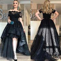 Wholesale cheap short pageant dresses - Modest Black High Low Lace Prom Dresses 2018 Bateau Short Sleeve A Line Short Front Long Back Evening Party Pageant Gowns Cheap Vestidos