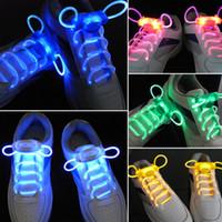 cordones de neón brillantes al por mayor-1 par 80 cm llevó la luz resplandor Shoelace Glow Stick intermitente de color neón cordones cordones partido luminoso mundial de venta