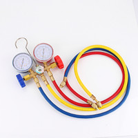 Wholesale Ac Manifold - New Refrigeration Air Conditioning AC Diagnostic Manifold Gauge Tool Set sn For All Car A C With Hose and Hook Kit