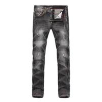 Wholesale Pencil Marking - Wholesale- NEW 2016 TOP QUALITY MEN BACK WHITE SKULL AND SKULL METAL MARKING GRAY JEANS,SMALL STRETCH PENCIL PANTS #PP8105#,SIZE 28 -36