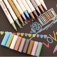 Wholesale Water Painting Photos - 10colours per set Diy Photo Album Decoration Metal Paint Pen Water Gel Pastel Highlighter Pen For Kraft Paper Album DIY Home Decro