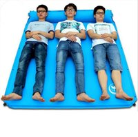 Wholesale Air Filled Pillow - Automatical Moisture Pad Camping Fill Foam Double Three Person Air Mattresses Inflatable Mat With Pillow Air Cushion Picnic Bed OOA2429