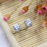 Wholesale Earring Stud Setting - Brand new brass fashion jewelry American and Europe stud earring cubic zirconia prong setting Rhodium plating for women free shipping gift