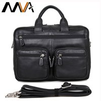 Vente en gros - MVA Leather Laptop Bag 14 pouces Business Men Briefcases Sacs à main en cuir véritable Sac en cuir Sac à bandoulière Homme Portefeuille