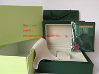 Wholesale Paper For Cards - Free Shipping Green Brand Watch Original Box Papers Card Purse Gift Boxes Handbag 185mm*134mm*84mm 0.7KG For 116610 116660 116710 Watches