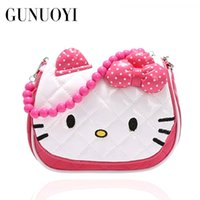 Grossiste-2016 Cute Cartoon Cat Perles Porter Handle Long Shoulder Straps Sac de haute qualité La petite fille un cadeau d'anniversaire 17.5X6X14.5