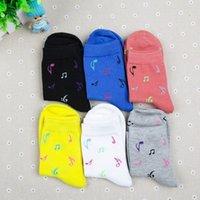 Wholesale Music Socks - Free shipping Adult women music notes cotton socks 20 pcs colour 30g pair wholesale