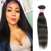 Wholesale Machine Human Hair - Fastyle Malaysian Straight Unprocessed Brazilian Peruvian Indian Mink Virgin Human Hair Bundles Natural Black 4pc lot Double Machine Weft
