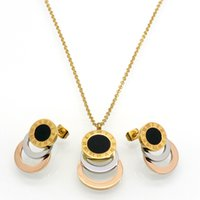 gold farbe schmuck set großhandel-Bestehen 3 Farbe Gold / Silber / Rose Gold Edelstahl Schmuck Stes Marke Frauen Ohrringe Halskette Schmuck-Set Für Frauen